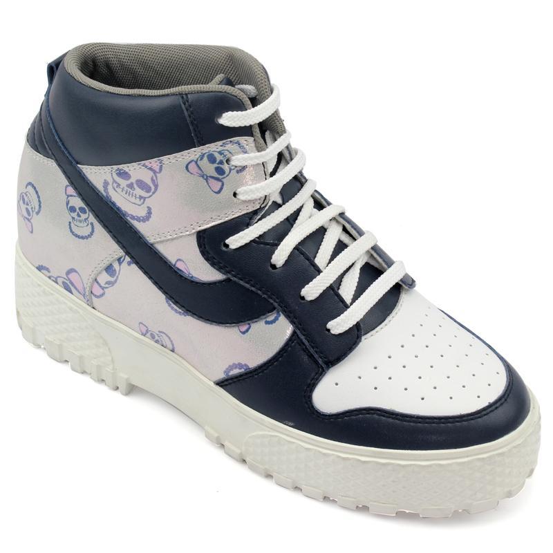 女士增高鞋 休闲滑板鞋 内增高8cm 蓝/白 商品货号:W56F1B【赫升】