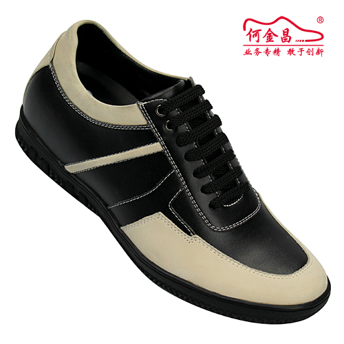 男士增高鞋 内增高板鞋 内增高6cm 黑/米白 商品货号:T86M06【何金昌】