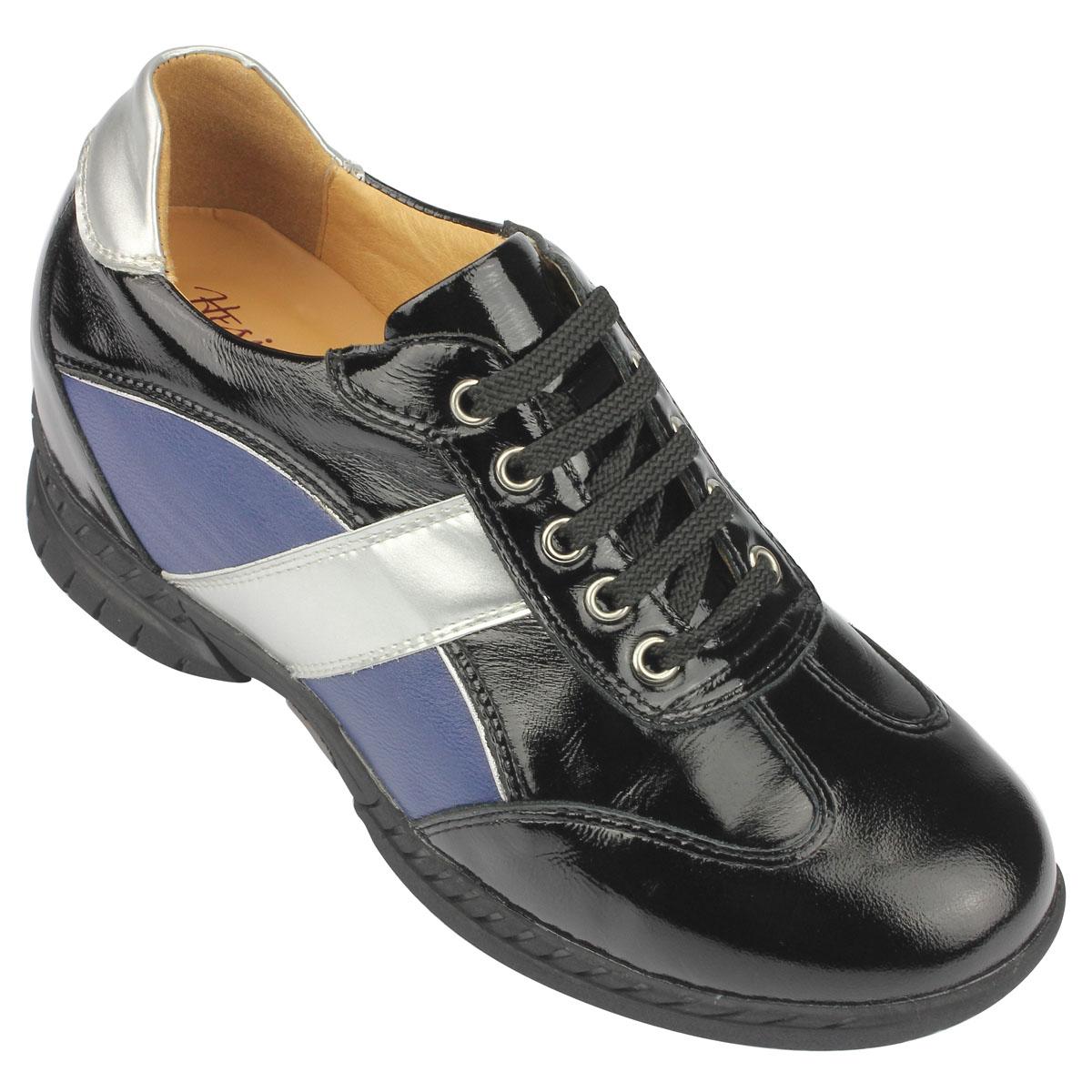 女士增高鞋 休闲滑板鞋 内增高6.5cm 黑色 商品货号:2W45-F7【赫升】