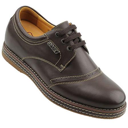 男士增高鞋 内增高休闲鞋 内增高6.5cm 深咖色 商品货号:219a10-1【何金昌】
