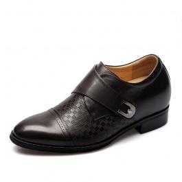 【何金昌】<买一送一>男士隐形增高皮鞋增高7.5cm棕色226(偏大一码)