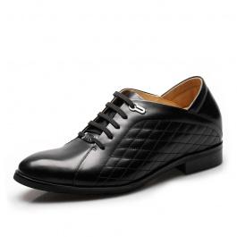 时尚菱形格皮鞋 男士内增高皮鞋 增高7.5cm 黑色 752(偏大一码)