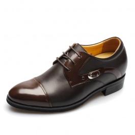 【何金昌】<特价>时尚拼接漆皮小牛皮商务绅士皮鞋增高7.5厘米874(偏大一码)