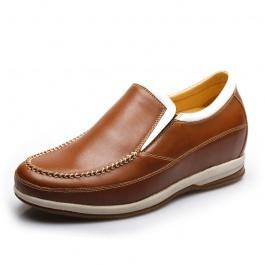 【何金昌】<特价> 简约打蜡皮商务皮鞋 休闲内增高皮鞋 增高6.5CM 786