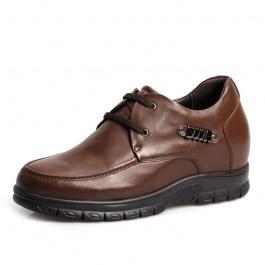 【何金昌】新款 油蜡皮休闲男士内增高鞋 棕色 增高8厘米 1043