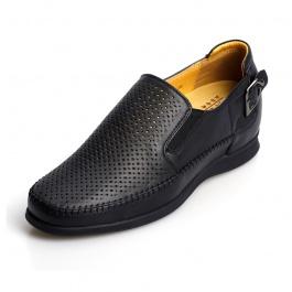 【何金昌】<买一送一>凉鞋镂空透气男士内增高皮鞋凉鞋增高6.5CM1122