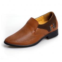 【乐昂】<买一送一>内增高凉鞋透气镂空内增高皮鞋增高6.5CM1184