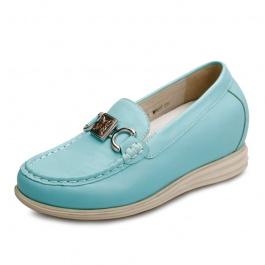 【赫升】新款简约时尚清新单鞋 内增高休闲女鞋 蓝色 增高7.5CM 1526