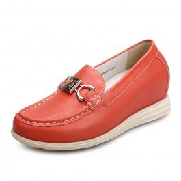 【赫升】「特价268元」软面真皮舒适内增高鞋浅口圆头驾车豆豆鞋红色增高7.5CM1527