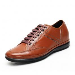 【何金昌】潮流商务增高休闲鞋 男式内增高皮鞋 增高6cm 棕色 1643