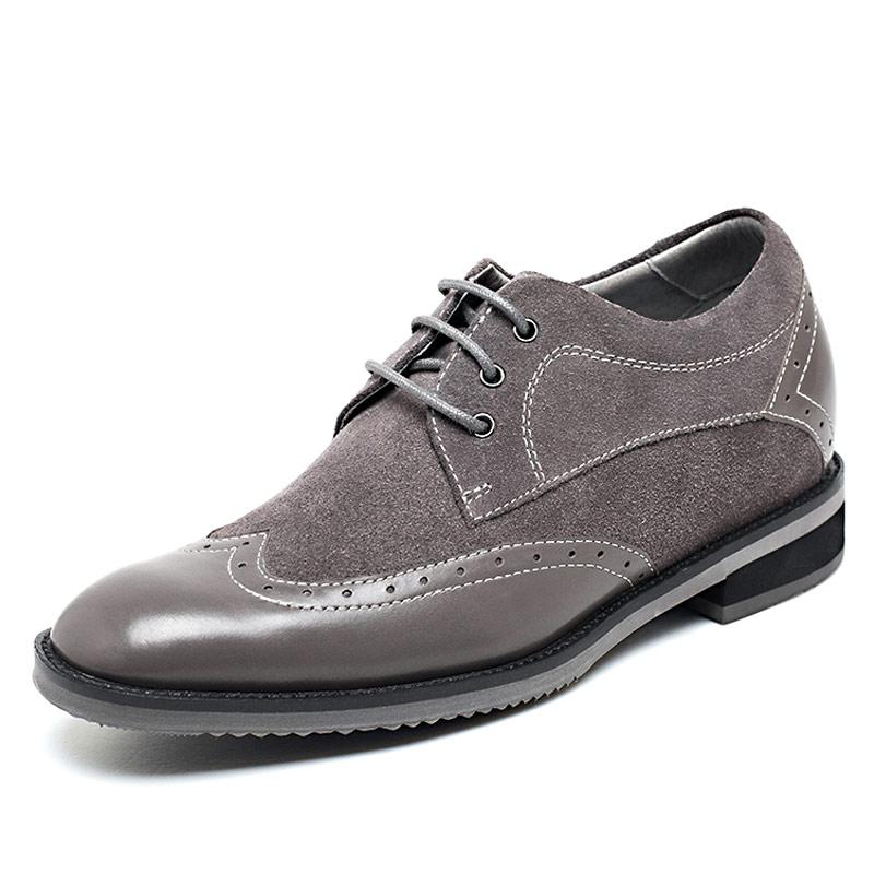 [何金昌]欧版内增高布洛克鞋 磨砂皮商务休闲男式内增高鞋 增高7CM