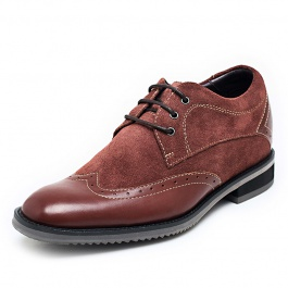 【何金昌】人气新款商务休闲内增高鞋  磨砂皮隐形内增高鞋 增高7CM 棕色 1667