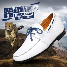 【何金昌】增高鞋 内增高男鞋休闲鞋 新款内增高皮鞋 增高6.5CM 白色  1610