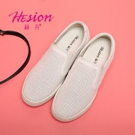 【赫升】韩版圆头隐形内增高女鞋 平底透气增高休闲鞋 增高6厘米 白色 1837
