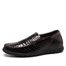 【何金昌】新款增高商务休闲皮鞋 时尚舒适内增高鞋  增高6cm 棕色 1654
