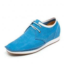【何金昌】「特价299元」磨砂软面皮休闲增高鞋个性内增高休闲鞋增高6cm蓝色1619