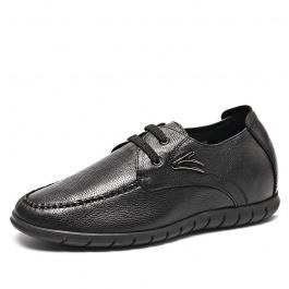【乐昂】2016秋冬新款内增高休闲皮鞋 舒适增高6CM休闲鞋 黑色 1908