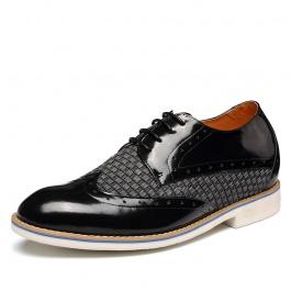 【何金昌】新款内增高布洛克皮鞋 欧式时尚内增高德比鞋 6厘米 黑色 1956