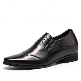 【何金昌】新款英伦风内增高皮鞋 男式内增高鞋舒适隐形增高8厘米 黑色 1963