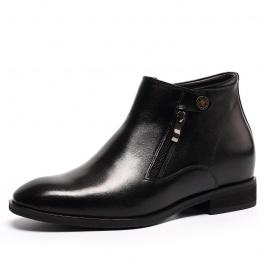【何金昌】2016新款隐形内增高短靴 热卖男士内增高皮靴7厘米 黑色 1982