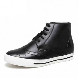 【乐昂】男式增高短靴真皮高帮英伦休闲皮鞋秋冬潮流6厘米内增高男靴 黑色  2000