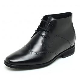【何金昌】英伦复古内增高男靴 新款内增高靴子 增高7CM  黑色  1699