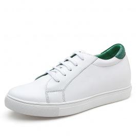 【赫升】新款彩尾小白鞋女鞋牛皮内增高女鞋休闲板鞋7厘米白/绿