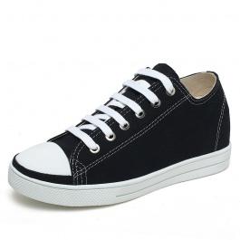 【赫升】黑色帆布鞋时尚百搭经典内增高帆布鞋增高6cm黑色
