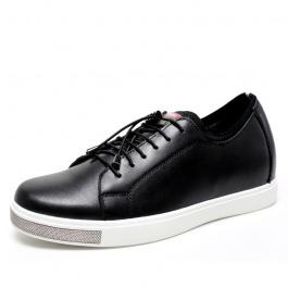 【何金昌】男士内增高休闲皮鞋圆头英伦风男鞋隐形增高鞋男6CM黑色