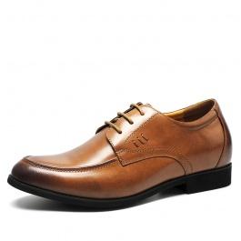 【何金昌】新款打蜡牛皮内增高鞋商务正装内增高皮鞋增高6CM棕色