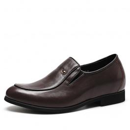 【何金昌】棕色商务内增高男鞋舒适隐形内增高皮鞋隐形增高6CM
