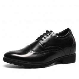 【何金昌】布洛克雕花内增高鞋商务内增高男鞋增高10厘米黑色