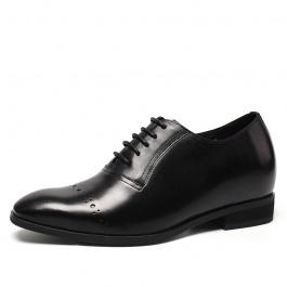 【何金昌】男士内增高皮鞋小牛皮正装皮鞋欧版布洛克雕花皮鞋7CM