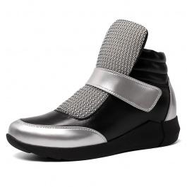 【赫升】增高女鞋时尚舒适女士内增高短靴增高8CM黑/银