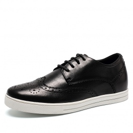 【赫升】女生时尚黑色板鞋精美布洛克雕花女鞋女生隐形增高鞋6CM