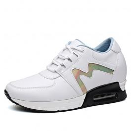 【赫升】新款百搭休闲女鞋超轻内增高运动鞋8厘米白色
