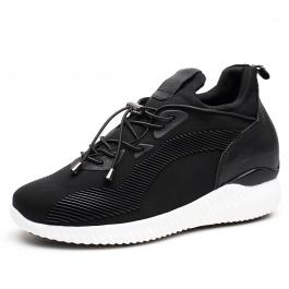 【赫升】时尚新款内增高女鞋弹力布休闲增高运动鞋7厘米黑色