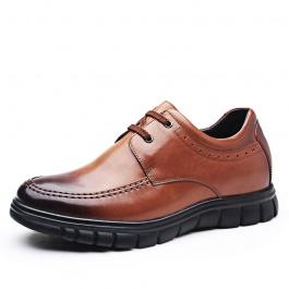 【何金昌】新款内增高商务男鞋隐形增高7厘米棕色打蜡牛皮