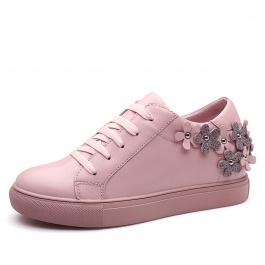 【赫升】新款休闲女鞋头层牛皮隐形增高7CM粉色W72W115K013D