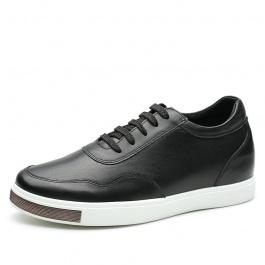 【何金昌】H71C26K177D黑色休闲板鞋隐形增高6厘米