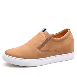 【何金昌】新款弹力舒适休闲鞋头层磨砂牛皮增高6厘米