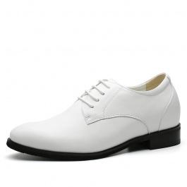 【何金昌】白色增高皮鞋 增高7厘米商务皮鞋