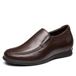 【何金昌】内增高商务休闲男鞋 男休闲皮鞋 增高6.5cm棕色