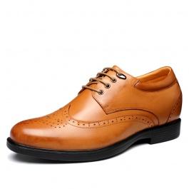 【何金昌】新款打蜡小牛皮欧版正装皮鞋增高8厘米