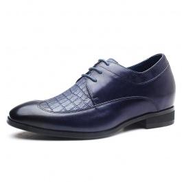 【何金昌】主流蓝男士内增高皮鞋 增高7CM