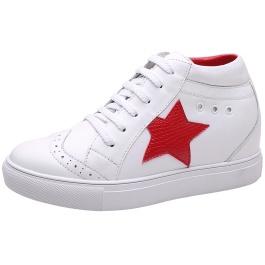 【赫升】个性星标 拒绝雷同 潮流高帮小白鞋 7CM