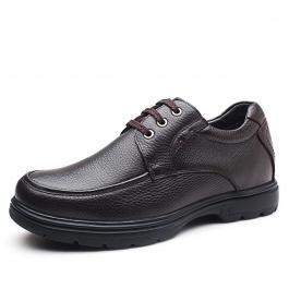 【何金昌】棕色商务休闲增高皮鞋 男士内增高商务皮鞋 8CM
