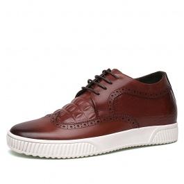 【乐昂】明星同款男内增高鳄鱼纹板鞋 韩版潮流男士内增高鞋 6CM