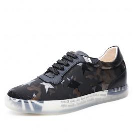 【何金昌】男士内增高运动板鞋 6CM舒适增高板鞋 帆布牛皮结合