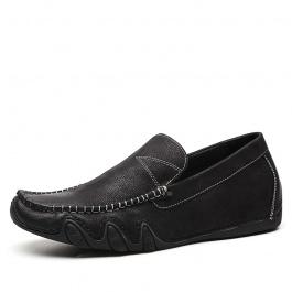 【何金昌】内增高男鞋6cm休闲鞋子男士新款潮鞋懒人套脚皮鞋男增高鞋